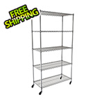 "MonsterRax NSF 5-Tier Wire Shelving Rack with Wheels - 36""W x 72""H x 18""D"