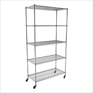 "NSF 5-Tier Wire Shelving Rack with Wheels - 36""W x 72""H x 18""D"