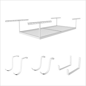 "4'x8' Overhead Storage 12""-21"" Drop Combo (Includes 2 Racks and 8 Hooks)"