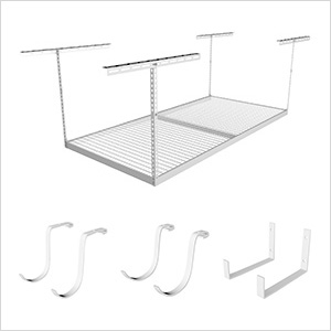"4'x8' Overhead Storage 24""-45"" Drop Combo (Includes 2 Racks and 8 Hooks)"
