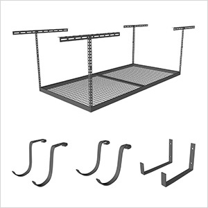 "4'x8' Overhead Storage 24""-45"" Drop Combo (Includes 2 Racks and 18 Hooks)"