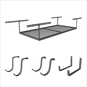 "4'x8' Overhead Storage 12""-21"" Drop Combo (Includes 2 Racks and 18 Hooks)"