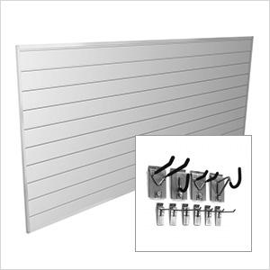 8' x 4' PVC Wall Slatwall Mini Bundle (White)