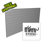 Proslat 8' x 4' PVC Wall Slatwall Mini Bundle (Light Grey)