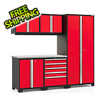 NewAge Garage Cabinets PRO Series 3.0 Red 6-Piece Set with Stainless Steel Top and LED Lights