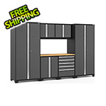NewAge Garage Cabinets PRO Series 3.0 Grey 7-Piece Set with Bamboo Top and LED Lights