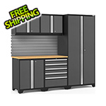 NewAge Garage Cabinets PRO Series 3.0 Grey 6-Piece Set with Bamboo Top and Slatwall