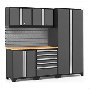 PRO Series 3.0 Grey 6-Piece Set with Bamboo Top and Slatwall