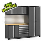 NewAge Garage Cabinets PRO Series 3.0 Grey 6-Piece Set with Bamboo Top, Slatwall and LED Lights
