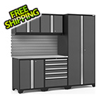 NewAge Garage Cabinets PRO Series 3.0 Grey 6-Piece Set with Stainless Steel Top and Slatwall