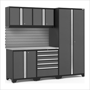 PRO Series 3.0 Grey 6-Piece Set with Stainless Steel Top and Slatwall