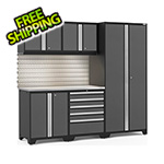 NewAge Garage Cabinets PRO Series 3.0 Grey 6-Piece Set with Stainless Steel Top, Slatwall and LED Lights