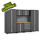 NewAge Garage Cabinets PRO Series 3.0 Grey 7-Piece Set with Bamboo Top and Slatwall