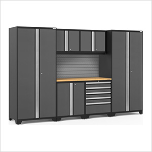 PRO Series 3.0 Grey 7-Piece Set with Bamboo Top and Slatwall