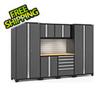 NewAge Garage Cabinets PRO Series 3.0 Grey 7-Piece Set with Bamboo Top, Slatwall and LED Lights