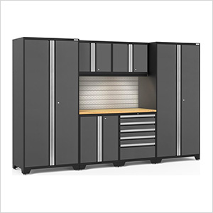 PRO Series 3.0 Grey 7-Piece Set with Bamboo Top, Slatwall and LED Lights