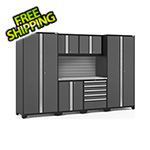 NewAge Garage Cabinets PRO Series 3.0 Grey 7-Piece Set with Stainless Steel Top and Slatwall