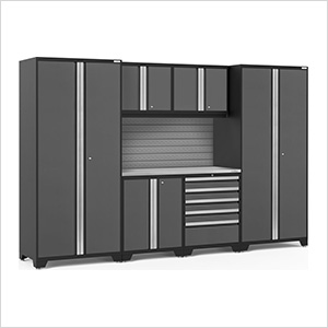 PRO Series 3.0 Grey 7-Piece Set with Stainless Steel Top and Slatwall