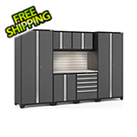 NewAge Garage Cabinets PRO Series 3.0 Grey 7-Piece Set with Stainless Steel Top, Slatwall and LED Lights