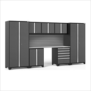 PRO Series 3.0 Grey 8-Piece Set with Stainless Steel Top and Slatwall