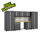NewAge Garage Cabinets PRO Series 3.0 Grey 8-Piece Set with Bamboo Top, Slatwall and LED Lights
