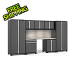 NewAge Garage Cabinets PRO Series 3.0 Grey 8-Piece Set with Stainless Steel Top, Slatwall and LED Lights