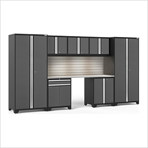 PRO Series 3.0 Grey 8-Piece Set with Stainless Steel Top, Slatwall and LED Lights