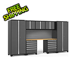 NewAge Garage Cabinets PRO Series 3.0 Grey 8-Piece Set with Bamboo Top and Slatwall
