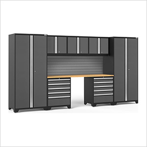 PRO Series 3.0 Grey 8-Piece Set with Bamboo Top and Slatwall