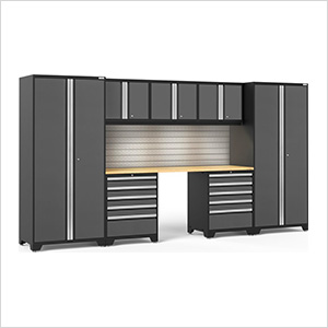 PRO Series 3.0 Grey 8-Piece Set with Bamboo Top, Slatwall and LED Lights