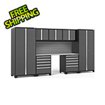 NewAge Garage Cabinets PRO Series 3.0 Grey 8-Piece Set with Stainless Steel Top and Slatwall