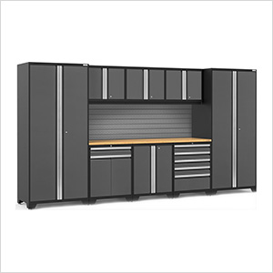 PRO Series 3.0 Grey 9-Piece Set with Bamboo Top and Slatwall