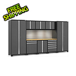 NewAge Garage Cabinets PRO Series 3.0 Grey 9-Piece Set with Bamboo Top, Slatwall and LED Lights
