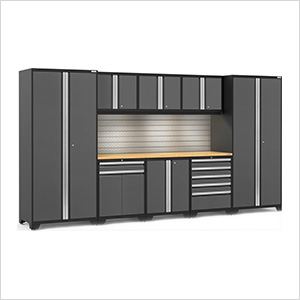 PRO Series 3.0 Grey 9-Piece Set with Bamboo Top, Slatwall and LED Lights