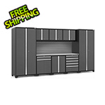 NewAge Garage Cabinets PRO Series 3.0 Grey 9-Piece Set with Stainless Steel Top and Slatwall
