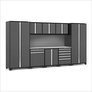 PRO Series 3.0 Grey 9-Piece Set with Stainless Steel Top and Slatwall
