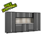 NewAge Garage Cabinets PRO Series 3.0 Grey 9-Piece Set with Stainless Steel Top, Slatwall and LED Lights