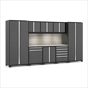 PRO Series 3.0 Grey 9-Piece Set with Stainless Steel Top, Slatwall and LED Lights