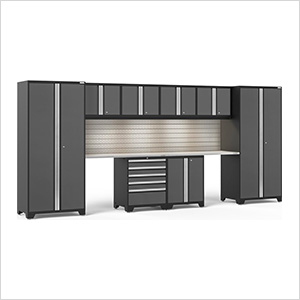 PRO Series 3.0 Grey 10-Piece Set with Stainless Steel Top, Slatwall and LED Lights