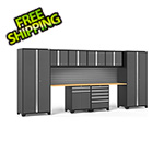 NewAge Garage Cabinets PRO Series 3.0 Grey 10-Piece Set with Bamboo Top and Slatwall