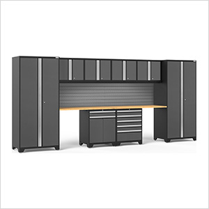 PRO Series 3.0 Grey 10-Piece Set with Bamboo Top and Slatwall