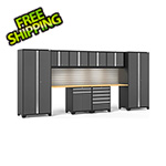 NewAge Garage Cabinets PRO Series 3.0 Grey 10-Piece Set with Bamboo Top and LED Lights and Slatwall