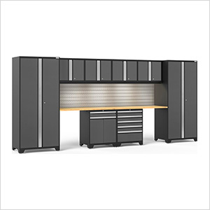 PRO Series 3.0 Grey 10-Piece Set with Bamboo Top and LED Lights and Slatwall