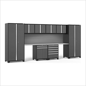 PRO Series 3.0 Grey 10-Piece Set with Stainless Steel Top and Slatwall