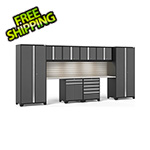NewAge Garage Cabinets PRO Series 3.0 Grey 10-Piece Set with Stainless Steel Top, Slatwall and LED Lights