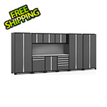 NewAge Garage Cabinets PRO Series 3.0 Grey 10-Piece Set with Stainless Steel Top and Slatwall