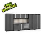 NewAge Garage Cabinets PRO Series 3.0 Grey 10-Piece Set with Stainless Top, Slatwall and LED Lights