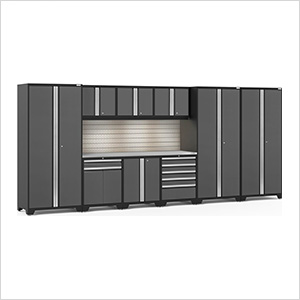 PRO Series 3.0 Grey 10-Piece Set with Stainless Top, Slatwall and LED Lights