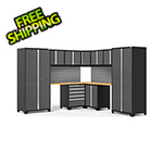 NewAge Garage Cabinets PRO Series 3.0 Grey 12-Piece Corner Set with Bamboo Tops and Slatwall