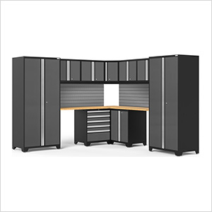 PRO Series 3.0 Grey 12-Piece Corner Set with Bamboo Tops and Slatwall